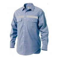 Long sleeve shirt COTTON 100% Oxford with reflective tape Work shirts