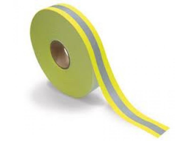 Reflective tape EN471, yellow/silver 65% Polyester-35% Cotton